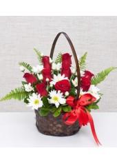 Çiçek Sepeti Güller ve Papatya
